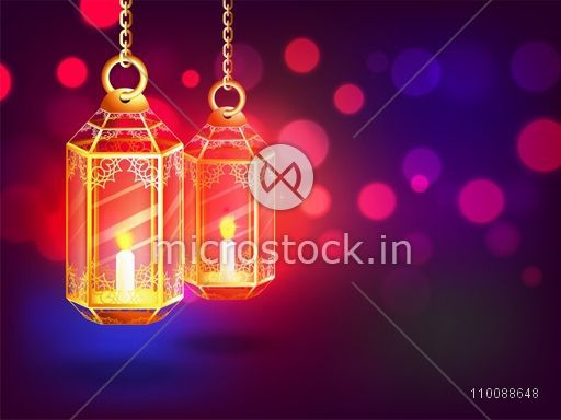 Creative Illuminated Lamps hanging on glowing abstract background for Islamic Festivals celebration.