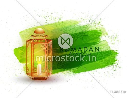 Abstract green brush stroke background with traditional illuminated Lamp for Holy Month of Muslim Community, Ramadan Kareem celebration.