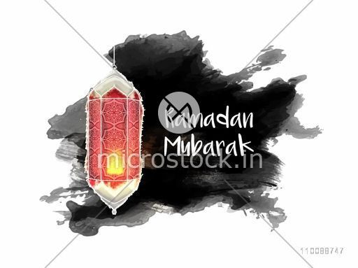 Creative illuminated traditional Lamp on abstract brush stroke background for Islamic Holy Month, Ramadan Mubarak celebration.