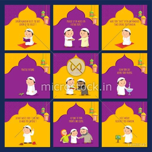 Creative set of Muslim People showing different ritual and religious activities of Holy Month, Ramadan Kareem.
