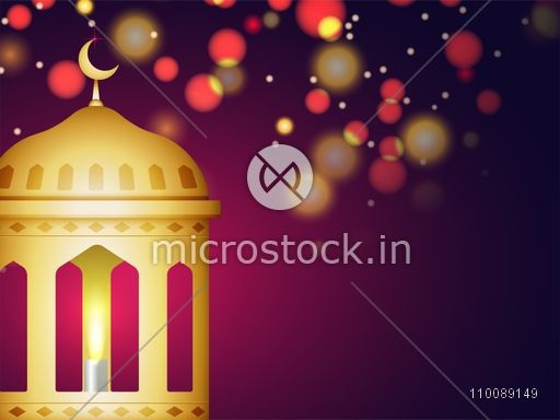 Creative golden Mosque on abstract background for Muslim Community Festivals celebration.