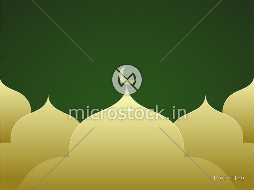 Creative Mosque on green background for Muslim Community Festivals celebration.