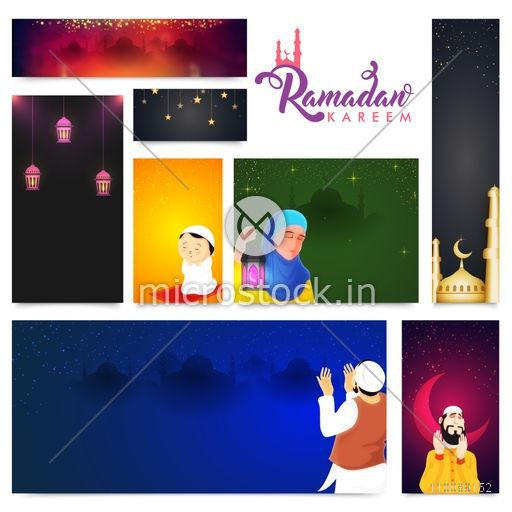Colorful website header or banner set with different Islamic elements for Holy Month, Ramadan Kareem celebration.