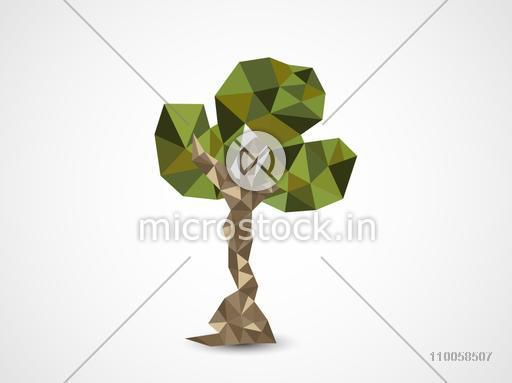 Earth Day celebration with creative origami tree on shiny grey background.