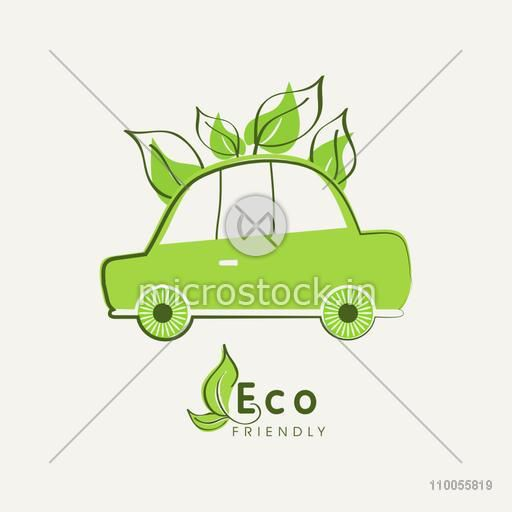 Green car with leaves for Save Ecology purpose on white background.