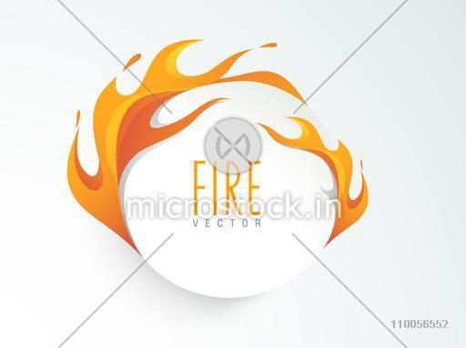 Shiny sale sticker, tag or label with fire flame on gradient  background.