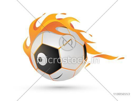 Shiny American soccer ball in fire on white background.