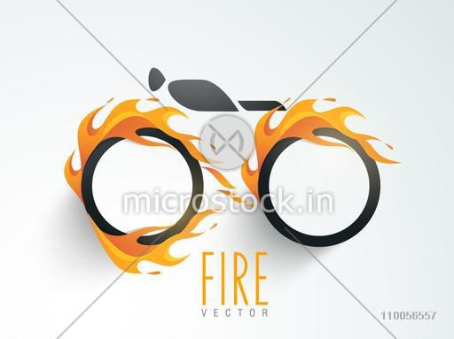 Stylish blank sticker, tag or label in fire on gradient background