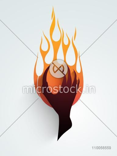 Scary zombie hand on fire, can be use as sticker, tag or label.