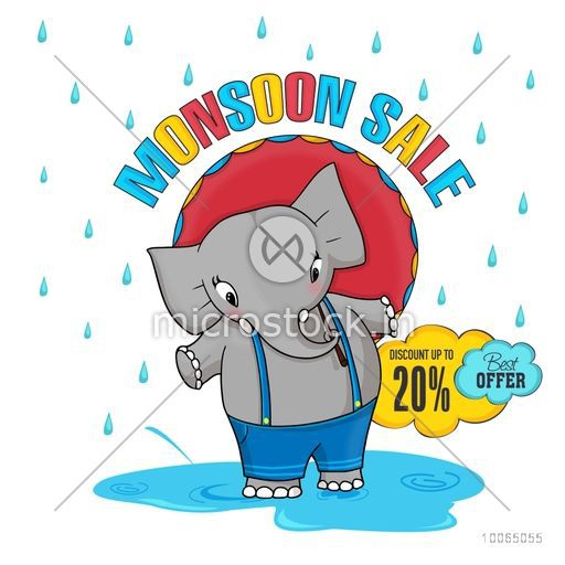 Monsoon Sale with best discount offer, stylish poster, banner or flyer design with illustration of a cute elephant standing in a rainy day.