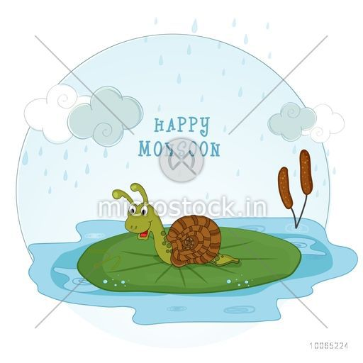 Funny cartoon of a snail in rain for Happy Monsoon concept.