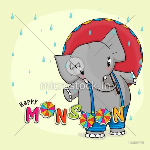 Illustration of cute elephant with colorful stylish text Happy Monsoon on rain drops background.