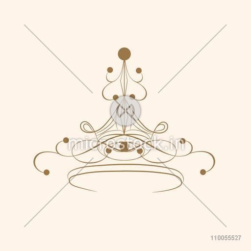 Creative beautiful crown design on beige background.