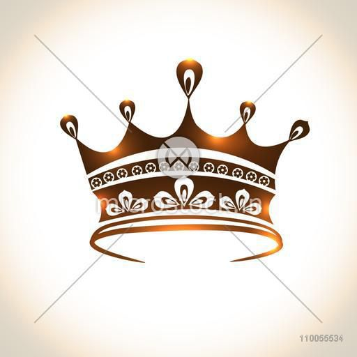 Shiny creative beautiful crown design isolated on stylish background.