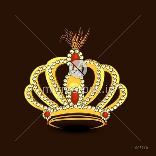 Creative stylish golden crown decorative with diamond on brown background.