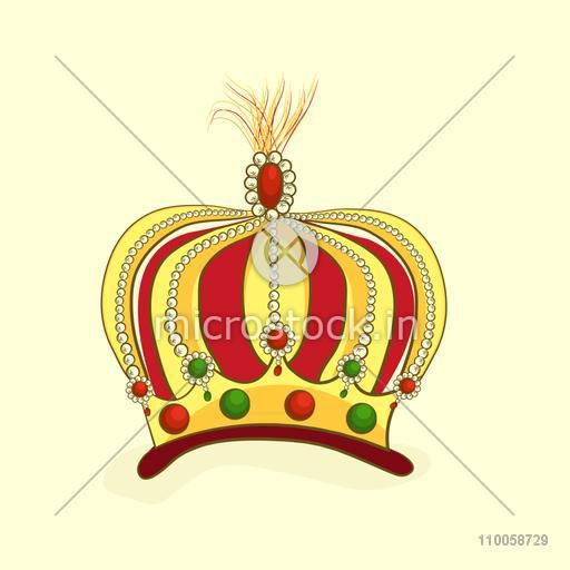 Creative stylish colorful crown on beige background.