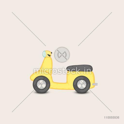 Right side view of a yellow transport toy scooter on beige background .