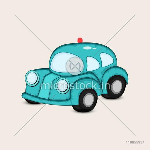 Blue transport toy car with red siren on beige background.