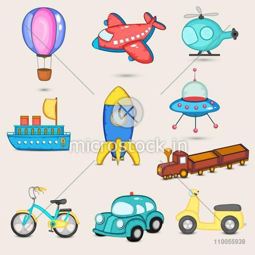 Set of nine transport toys with parachute, airplane, helicopter, ship, missile, space craft, train, bicycle, car and scooter.