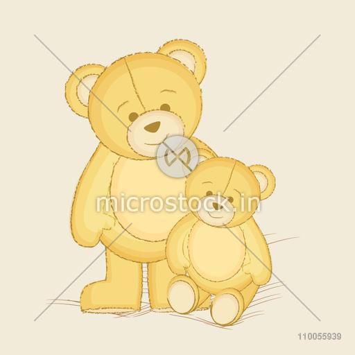 Illustration of two cute bear and their child of toys style one stand and second sit on beige background.