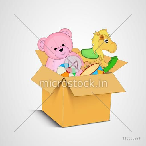A box full of toys on grey background.