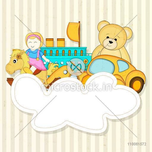 Many colourful toys with a blank frame for a massage on seamless background.