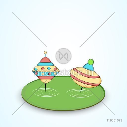 Illustration of whipping tops in meadow on shiny background.