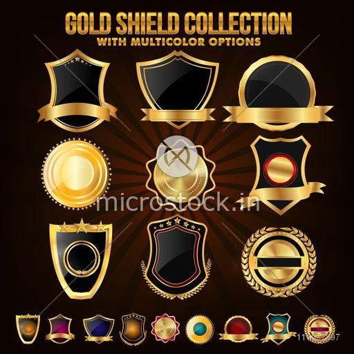 Collection of Golden Shield, Stickers, Labels or Ribbons with Multicolor Options.