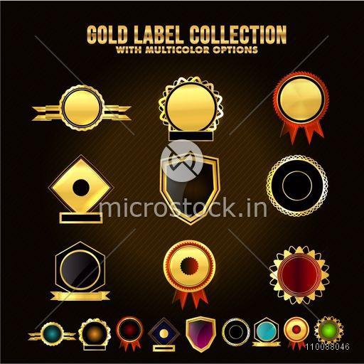 Set of glossy golden Labels, Sticker or Badges with multicolor options.