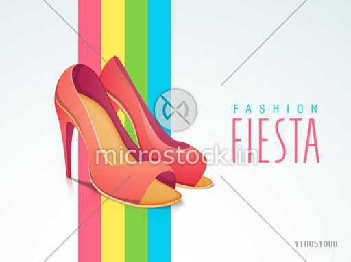 Women's heel sandal with stylish text of Fashion Fiesta on stylish background.