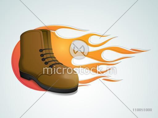Men's boot with flame on glossy background.