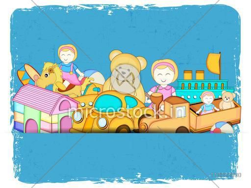 Many colourful toys on sky blue seamless background.