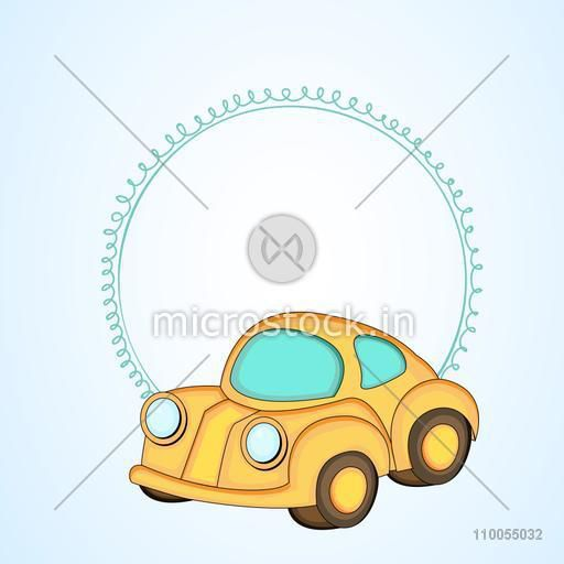 Kiddish style car with a blank frame for your massage on light sea blue colour background.