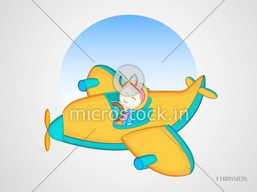 Cute little girl sit in a flying colourful Airplane with half circle shape inside on shiny silver and grey background.