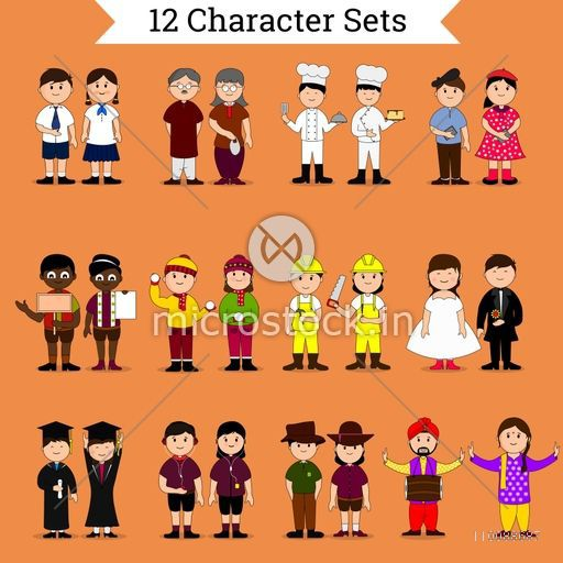 Set of twelve different creative cartoon characters.