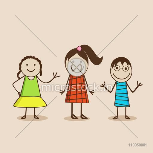 Character of dancing girls wearing stylish clothes and boy wearing goggle in happy mood.