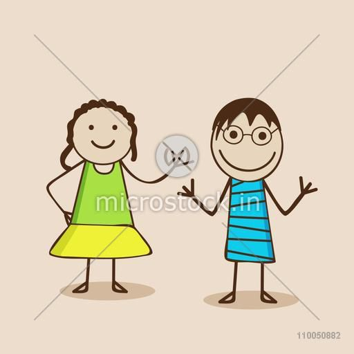 Two cartoon character wearing stylish clothes and one is wearing goggles in the mood of playing and dancing.