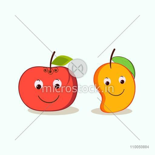 Character of apple and mango with smiling faces.