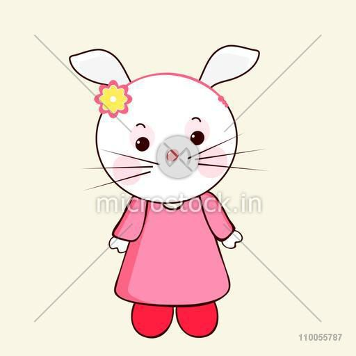 Cute and stylish character of rabbit wearing human clothes in pink colour with a hair band on its head.