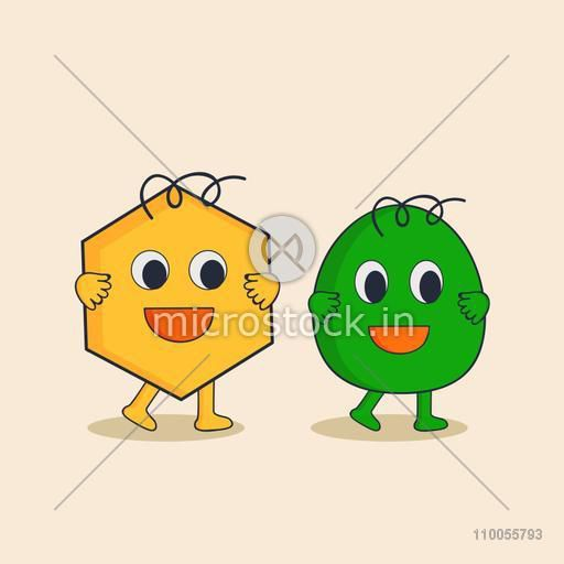 Character of yellow star and green egg in happy mood.