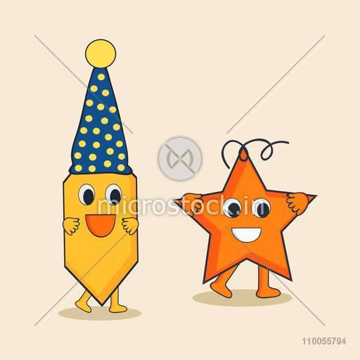 Character of pencil wearing a stylish cap and stylish star with happy mood.