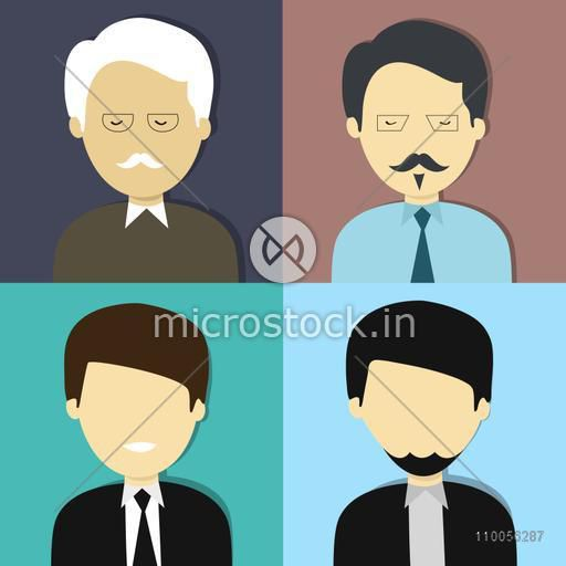 Set of four business character with an old man, young man, young boy and muslim man.