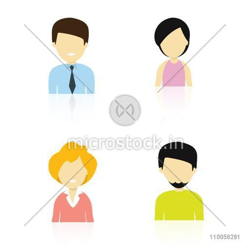 Set of four different characters with a young man, two young girls and a young muslim man on white background.