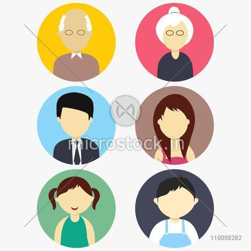 Family characters icon with old grandfather, grandmother, young father,  mother, little daughter and son on white background