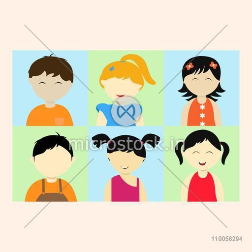 Set of six kids character with little boys and girls on beige background.
