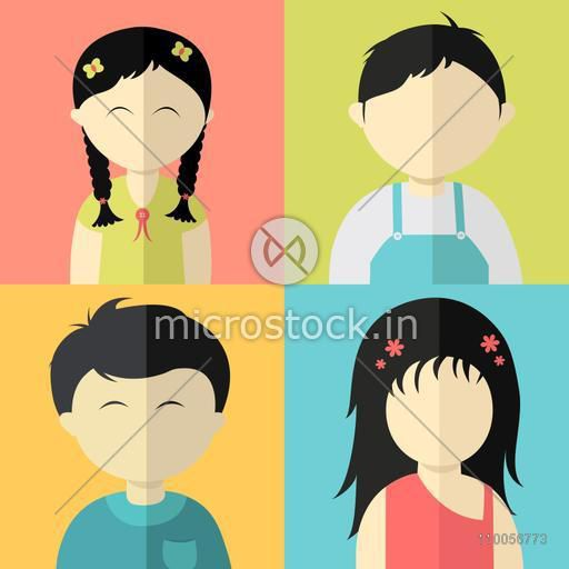 Set of four kids character with little boys and girls on colorful background.