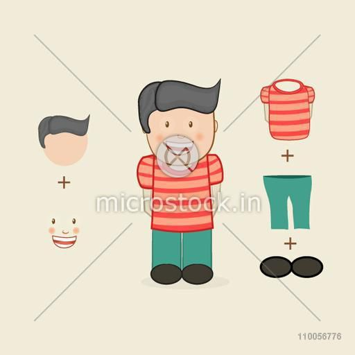 Little laughing boy character on beige background.