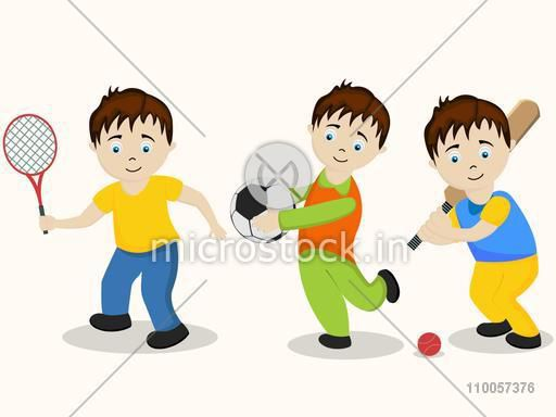 Character of three boys holding racquet, football and cricket bat on beige background.
