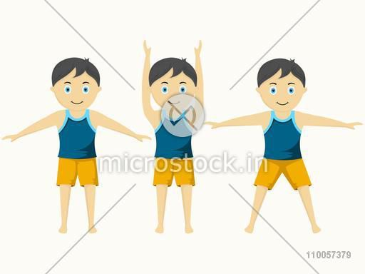 Character of little boy standing in different exercise position on beige background.