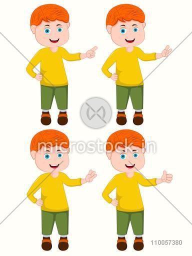 Character of a little boy standing with different hands position on beige background.